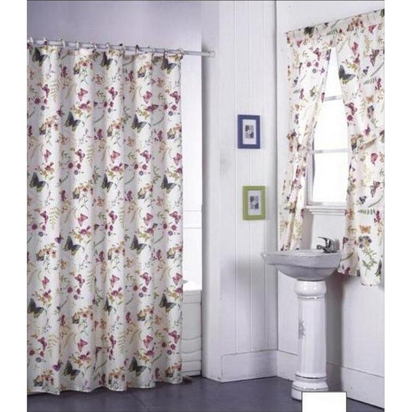Garden flowers shower curtain set and window set free for Matching bedroom and bathroom sets