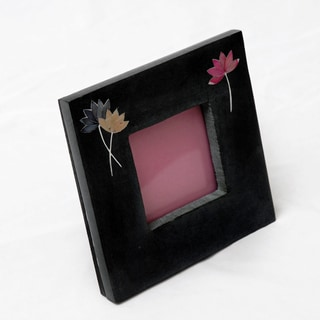 Lotus Dark Gray Engraved Soapstone Photo Frame (India)