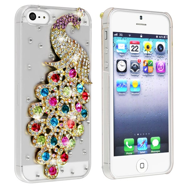 BasAcc Clear/ Colorful Peacock Diamond Snap-on Case for Apple iPhone 5