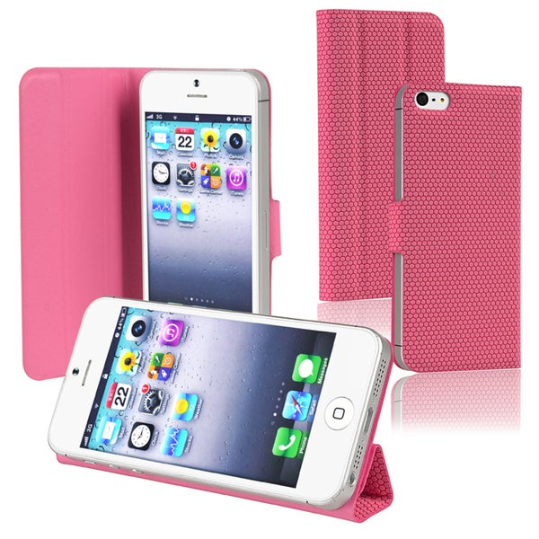 BasAcc Pink Synthetic Leather Case with Stand for Apple iPhone 5