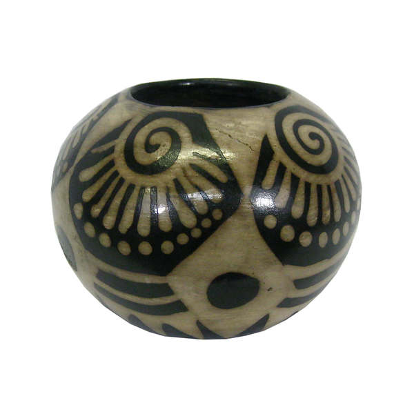 Spherical Black and White Clay Planter (Honduras)