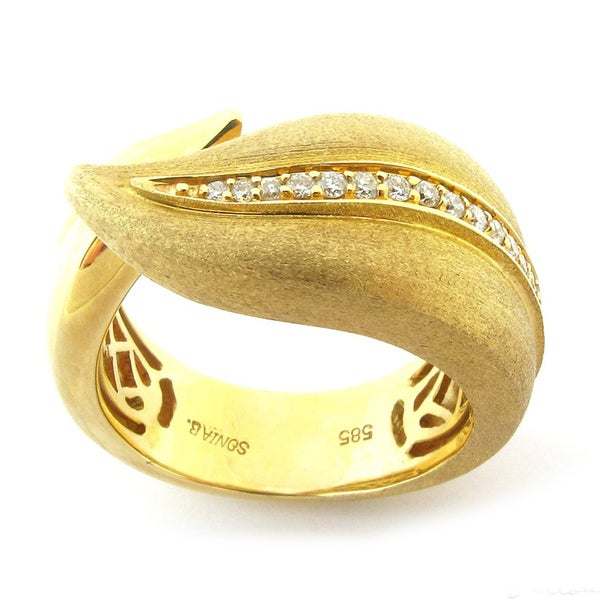 Sonia Bitton 14k Gold 1/5ct TDW Designer Diamond Leaf Ring (G-H, SI1-SI2)