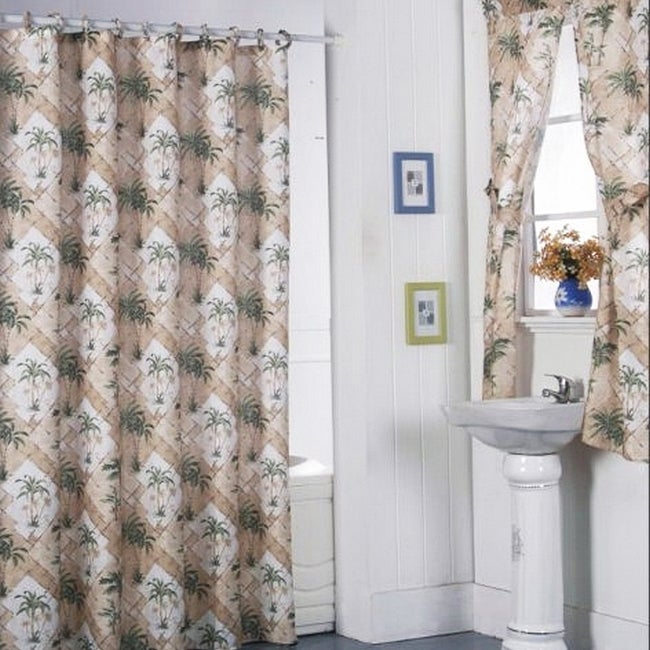 California Palm Shower Curtain Set and 4-piece Window Set...