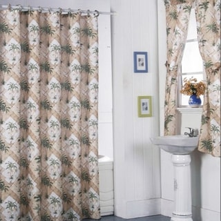 California Palm Shower Curtain Set And 4 Piece Window Set