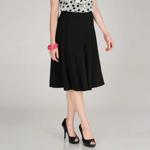 Hanna & Gracie Women's Black Pleated Skirt