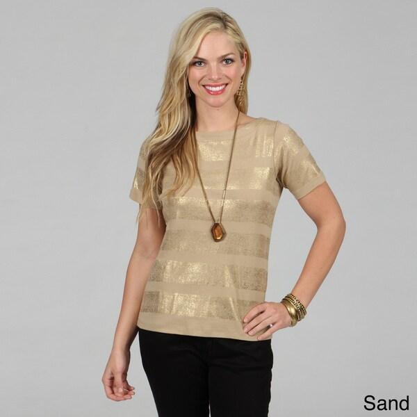 Celebrating Grace Women's Metallic Striped Short Sleeve Top