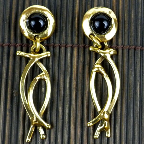 Handmade Brass Dancing Onyx Earrings (South Africa)