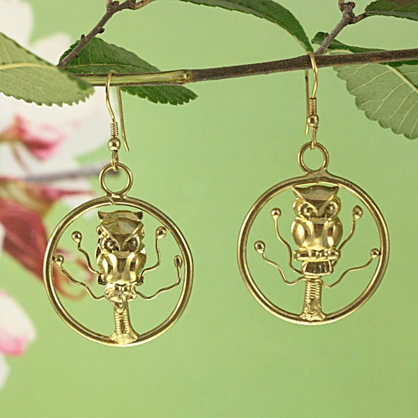 Handcrafted Brass Owl in a Tree Dangle Earrings (India)