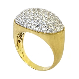 Sonia Bitton 18k Gold 2 1/2ct TDW Designer Pave Diamond Domed Oval Ring (G-H, SI1-SI2)