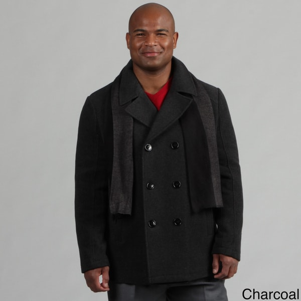 Kenneth Cole Reaction Men's Wool Blend Peacoat with Scarf FINAL SALE