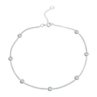 Handmade Round CZ Link Silver Anklet (Thailand) (3 options available)