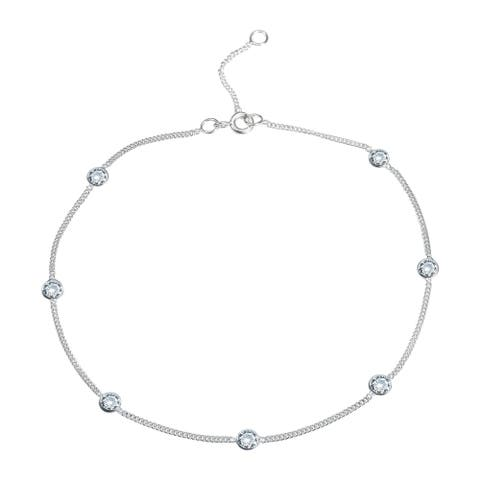 Handmade Round Cubic Zirconia Link Silver Anklet (Thailand)
