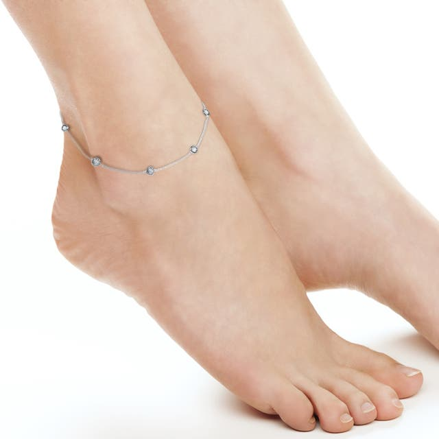 Round CZ Link Silver Anklet