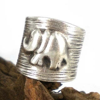 Elephant Stripes Thai Karen Silver Handmade Wrap Ring (Thailand)