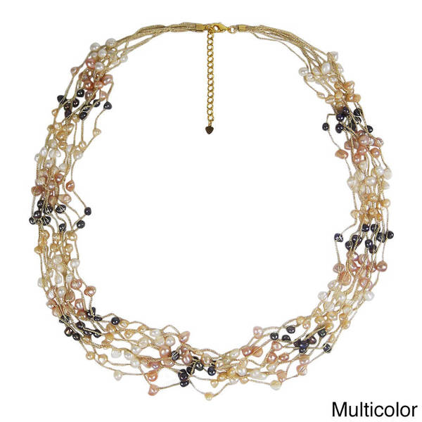 Multi Strand Muse Freshwater Pearl Long Necklace (Thailand)
