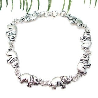 Handmade Double Sided Elephants Link Sterling Silver Bracelet (Thailand)