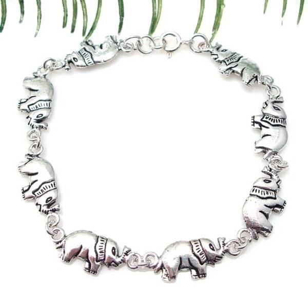 Double Sided Elephants Link Silver Bracelet (Thailand)