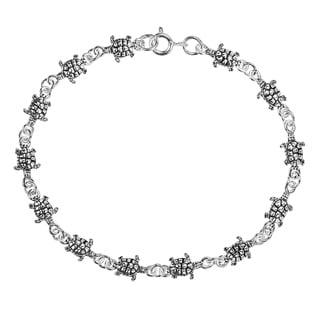 Handmade Mini Sea Turtle Link Sterling Silver Bracelet (Thailand)