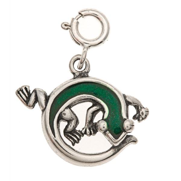 Sterling Silver Green Enamel Lizard Charm