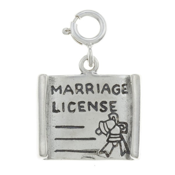 Sterling Silver Marriage License Charm