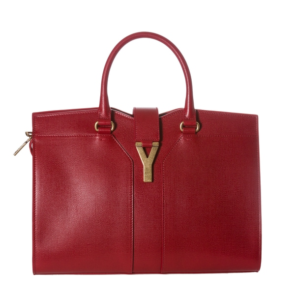 Yves Saint Laurent 'Cabas ChYc' Medium Red Textured Leather Tote Bag