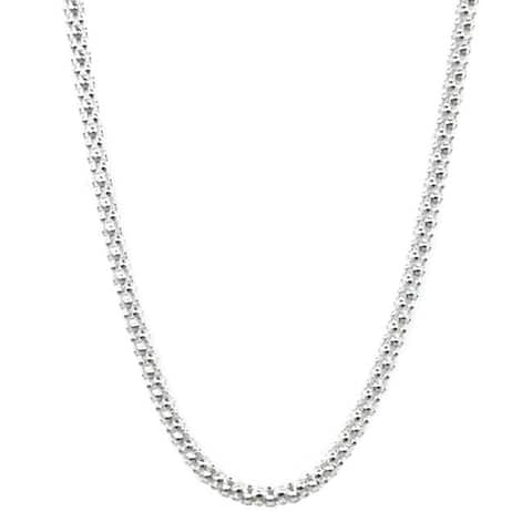 Handmade Jewelry by Dawn Sterling Silver Popcorn Style 18-Inch Chain Necklace (USA)