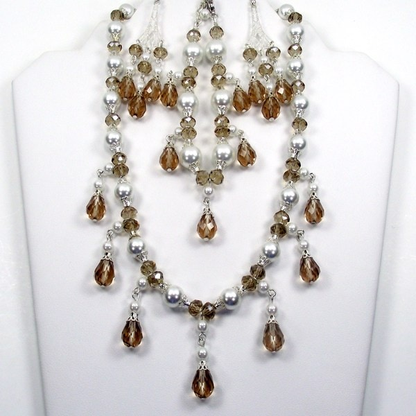 White Glass Pearl and Caramel Crystal Jewelry Set