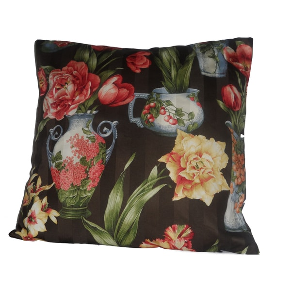 Black Floral Pillow Cover