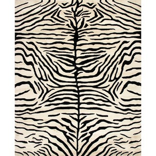 Handmade Zebra Ivory Black Wool Rug (8' x 10')