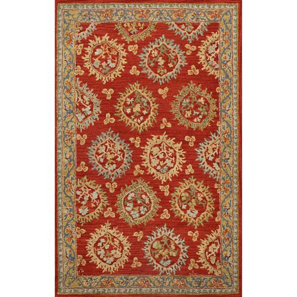 Handmade Medallion Red Blue Wool Rug (8' x 10')