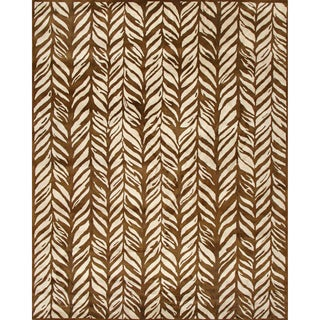 Handmade Rayon from Bamboo Leaf Gold Wool Rug (8' x 10')