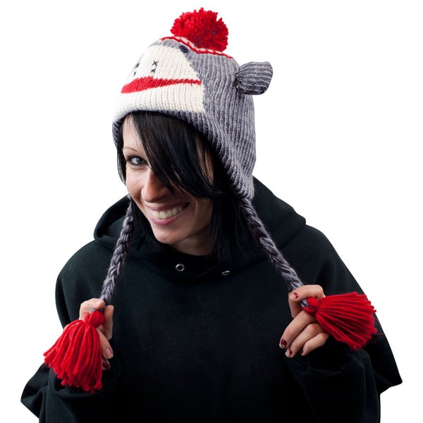 Adult Size Gray Sock Monkey Knit Hat with Poly-Fleece Lining