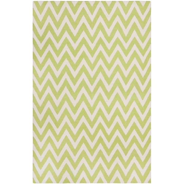 Safavieh Hand-woven Moroccan Reversible Dhurrie Chevron Green Wool Rug