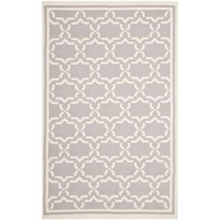 Safavieh Handwoven Moroccan Reversible Dhurrie Grey/Ivory Wool Rug (9' x 12')