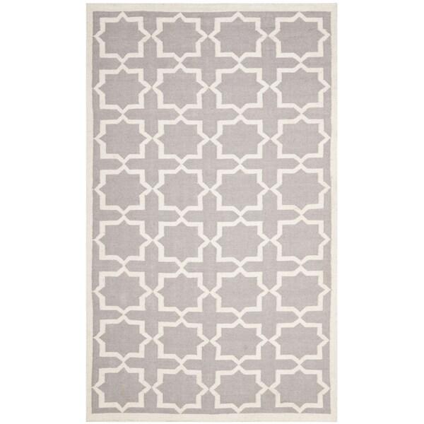 Safavieh Handwoven Moroccan Reversible Dhurrie Grey Wool Area Rug (6' x 9')