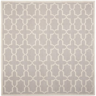 Safavieh Handwoven Contemporary Moroccan Reversible Dhurrie Grey Wool Rug (6' Square)