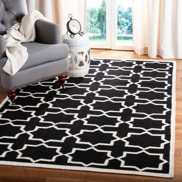 Safavieh Hand-woven Moroccan Reversible Dhurrie Black Wool Rug - 10' x 14'