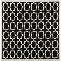 Safavieh Handwoven Moroccan Reversible Dhurrie Black Wool Area Rug (6' Square) - 6' Square