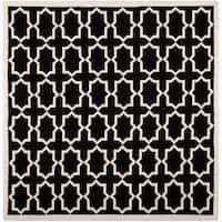 Safavieh Handwoven Moroccan Reversible Dhurrie Black Wool Area Rug - 6' x 6' Square