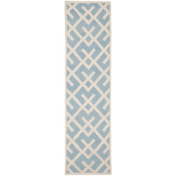 Safavieh Hand-woven Moroccan Reversible Dhurrie Light Blue Wool Rug (2'6 x 8')