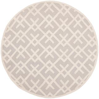 Safavieh Hand-woven Moroccan Reversible Dhurrie Grey Wool Rug (6' Round)