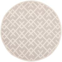 Safavieh Hand-woven Moroccan Reversible Dhurrie Grey Wool Rug - 6' x 6' Round