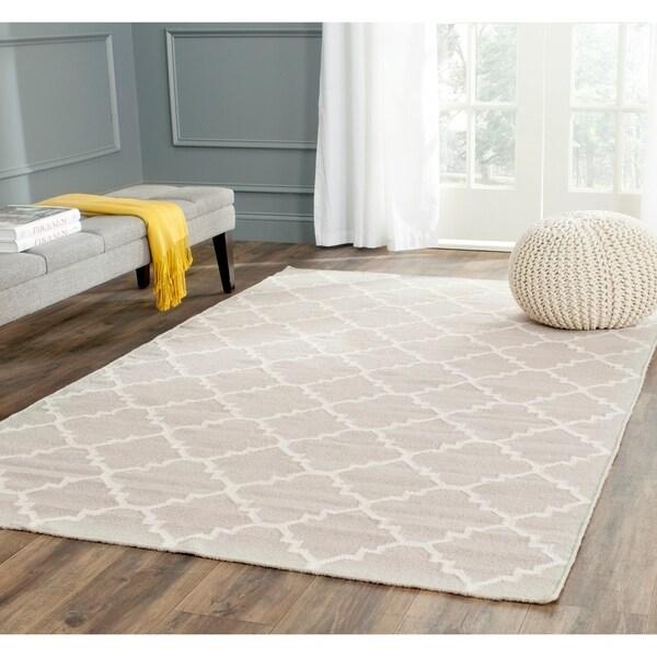 Safavieh Hand-woven Dhurrie Flatweave Grey/ Ivory Wool Rug - 5' x 8'