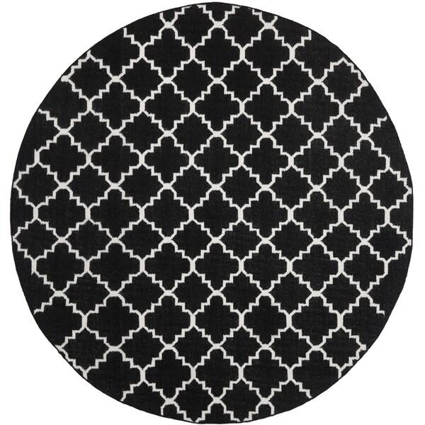Safavieh Hand-woven Moroccan Reversible Dhurrie Black Wool Rug (6' Round)