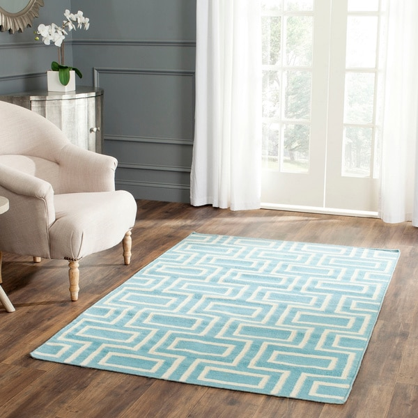 Safavieh Handwoven Moroccan Reversible Dhurrie Light Blue Wool Rug