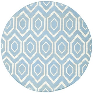 Safavieh Hand-woven Moroccan Reversible Dhurrie Blue Wool Rug (8' Round)