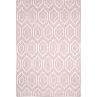 Safavieh Hand-woven Moroccan Reversible Dhurrie Pink Wool Rug (10' x 14')