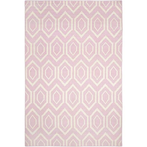 Nuloom Handmade Dotted Trellis Wool Kids Nursery Baby Pink: Safavieh Hand-woven Moroccan Reversible Dhurrie Pink Wool