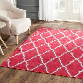 Safavieh Hand-woven Moroccan Reversible Dhurrie Red Wool Rug