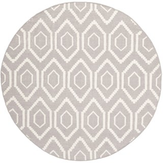 Safavieh Hand-woven Moroccan Reversible Dhurrie Grey Wool Rug (8' Round)